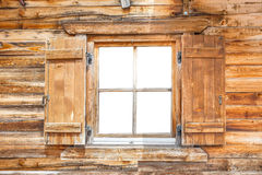 Window of a mountain cabin Royalty Free Stock Photos