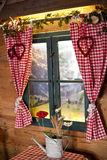 Window in a mountain lodge replica Royalty Free Stock Images