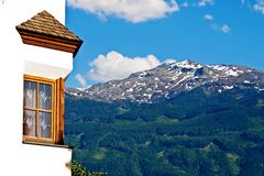 Window with mountain view Royalty Free Stock Photo