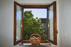 Window with mushrooms Royalty Free Stock Image