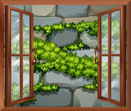 A window near the stonewall. Illustration of a window near the stonewall Royalty Free Stock Images