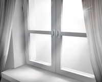 Window with net curtains. Vector illustration. Stock Images