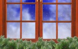 Window and night snow and christmas tree fir nature Stock Image