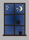 Window at night-time. Vector illustration of a window at night vector illustration