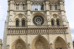 Window of Notre Dame in Paris Stock Images