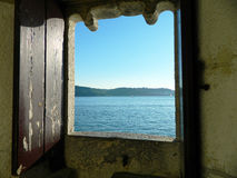 Window on the ocean. Open window on the ocean Stock Photography