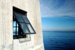 Window Ocean View. Of California.  Blue skies and blue waters Royalty Free Stock Images