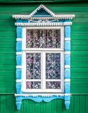 Window Of Old Traditional Russian Wooden House. Stock Photo