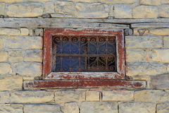 Window. Old barred window in the morning time stock image