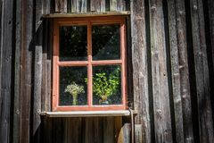 Window with old ceramic vase and wildflowers. stock photography