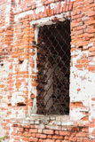 The window in the old Church. Window opening in the old masonry of the destroyed temple royalty free stock photos