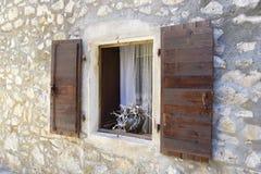 Window in old district, Seget Vranjica. Croatia Royalty Free Stock Photo