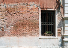 Window in old-fasioned house with flowers Stock Image