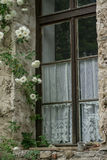 Window. The window in the old frame. The old house, flowers outside the window Stock Image