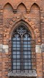 Window in the old gothic retro vintage Church.  Royalty Free Stock Photos