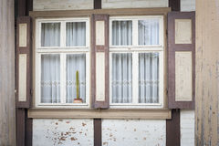 Window on an old half-timbered house, Germany Stock Photo