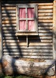 Window. On the old house with checkered curtains Stock Images