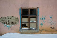 The window of the old house. Close-up, old wood, peeling paint Royalty Free Stock Image