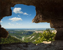 Window from old mountain cave Stock Image