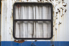 Window of an old railway compartment Royalty Free Stock Image