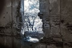 Old ruined abandoned building. Window in the old ruined abandoned building Royalty Free Stock Photography