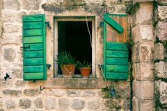 Window in an old stone house Royalty Free Stock Image