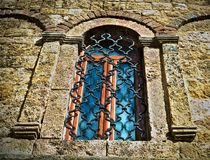 Window on old stone monastery in Serbia Royalty Free Stock Photography