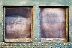 Window on old train passenger car. Royalty Free Stock Images