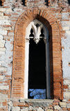 Window in old villa in red brick in vicenza italy Royalty Free Stock Photo