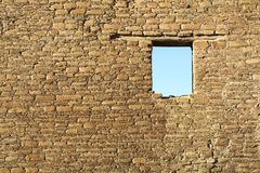 Window in an old wall by Chaco culture, USA Royalty Free Stock Images