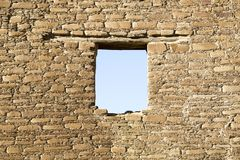 Window in an old wall by Chaco culture, USA Stock Photography