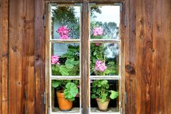 A picturesque window in an old wooden cottage house with colourful flowers stock photo
