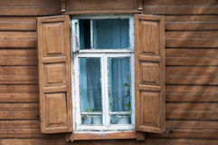 Window of old wooden house. Stock Images
