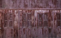 Window in an old wooden house stock photography