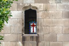 The window of one of the crypts in Poblenou Cemetery royalty free stock photos