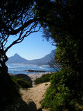 Window onto Lion's Head. A view of Lion's Head, Cape Town stock photo