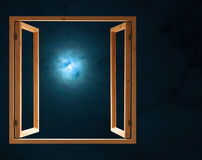Window open dark night half moon light Royalty Free Stock Images