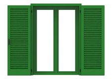 Window open with green venetian shutters. Window open with green venetian shutters, closeup front view, 3D rendering Royalty Free Stock Photo