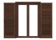 Window open with wood venetian shutters. Window open with wood venetian shutters, closeup front view, 3D rendering Royalty Free Stock Photos
