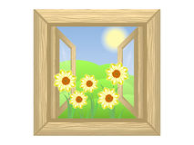 Window. Open wooden box with green hills and yellow daffodils in the foreground vector illustration