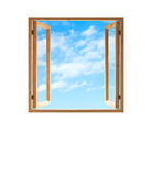 Window open wooden frame  sky view isolated white Royalty Free Stock Photos