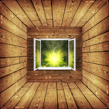 Window. Open window from wooden room with landscape on a background vector illustration