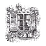 Window with open wooden shutters. Vintage sketch Stock Image