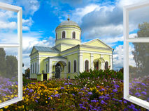 Window opened to the church and flower-bed Royalty Free Stock Images