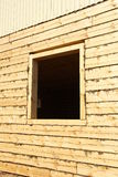 Window opening in the new log houses Royalty Free Stock Photography