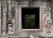 Window opening in temple wall Royalty Free Stock Photos