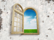 Window opening to blue sky Royalty Free Stock Image