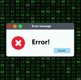 Window operating system error warning. Illustration on hitech isolated background Royalty Free Stock Photo