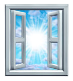 Window Of Opportunity. As a symbol of freedom and success or Light at the End of the tunnel with open windows and sky with glowing light Royalty Free Stock Image