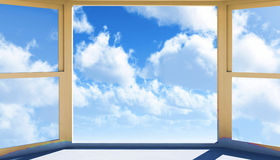 Window of opportunity. Overlooking blue  sky  and beautiful summer clouds Royalty Free Stock Photography